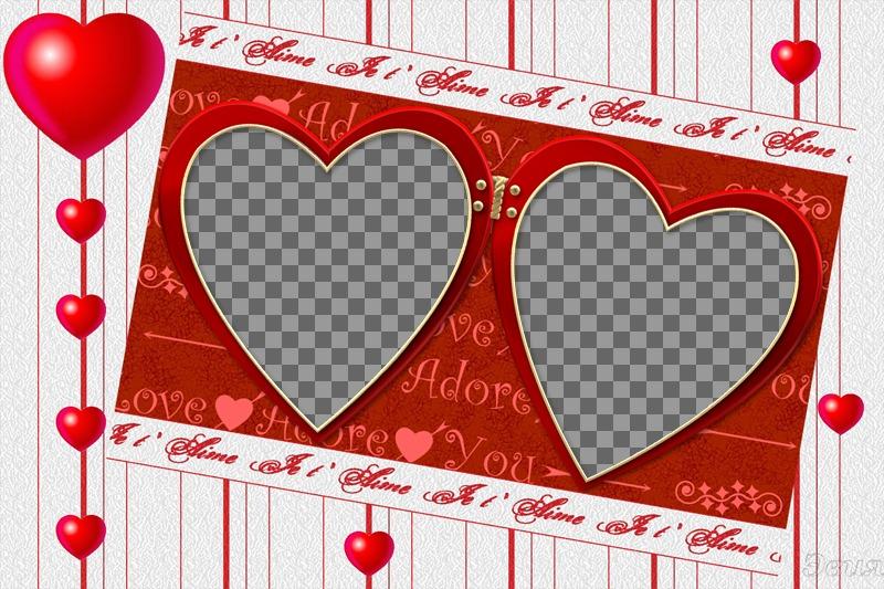 """Cadre pour deux photos pour la Saint Valentin. Modifier ce photomontage et beaucoup d""""autres en ligne, gratuitement à partir de cette page"""