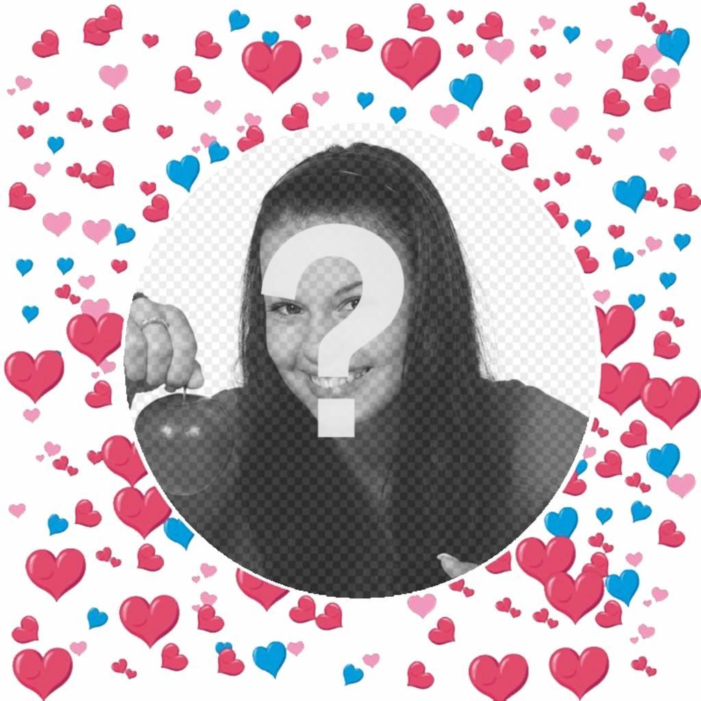 Cadre pour ajouter votre photo décoré avec beaucoup de coeurs