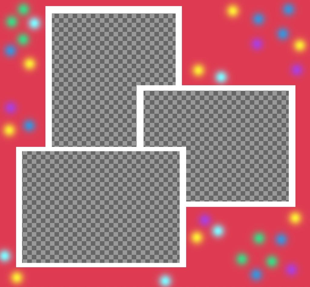 Collage de photos pour modifier avec trois images et les décorer avec des lumières et des couleurs