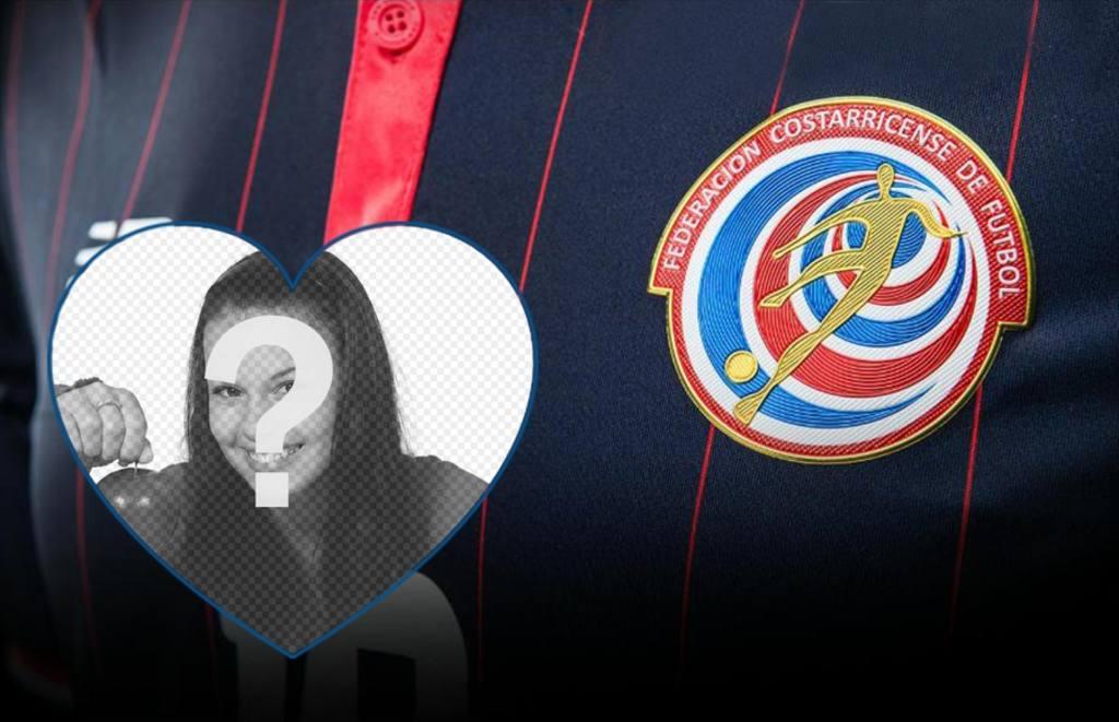 Montage pour mettre votre photo à côté de la chemise et le logo de léquipe de football du Costa Rica