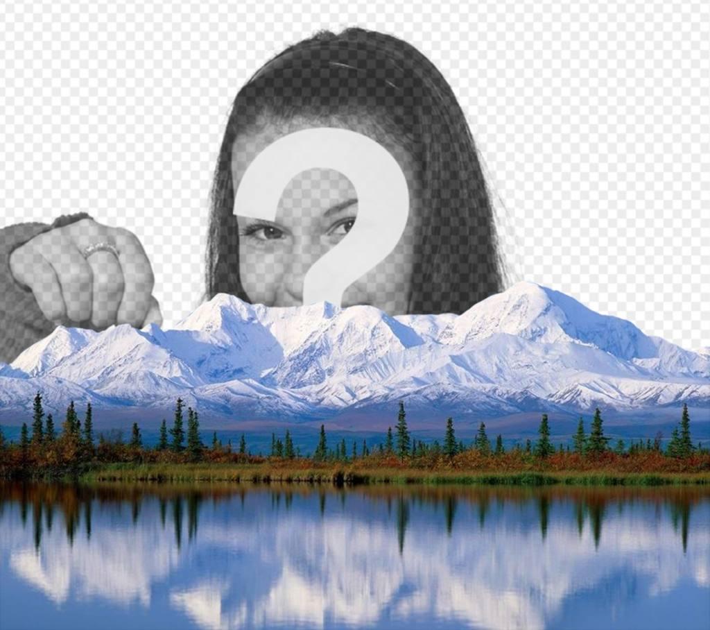 Ajoutez votre photo sur une montagne enneigée avec photomontages originale cet effet en ligne parfaite à utiliser comme photo de couverture que vous pouvez modifier le téléchargement dune image et lajouter dans un paysage avec des montagnes enneigées, de pins et dun lac et partager avec cette image spectaculaire complètement libre