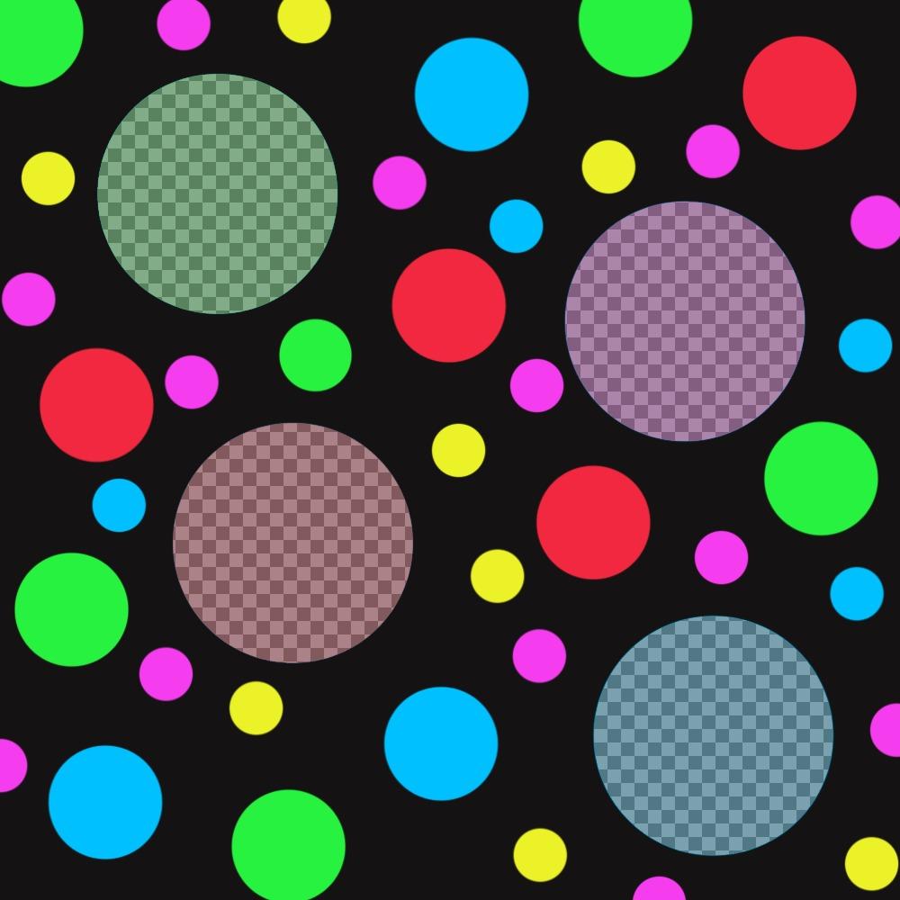 Collage photo originale avec des points colorés pour ajouter quatre photos