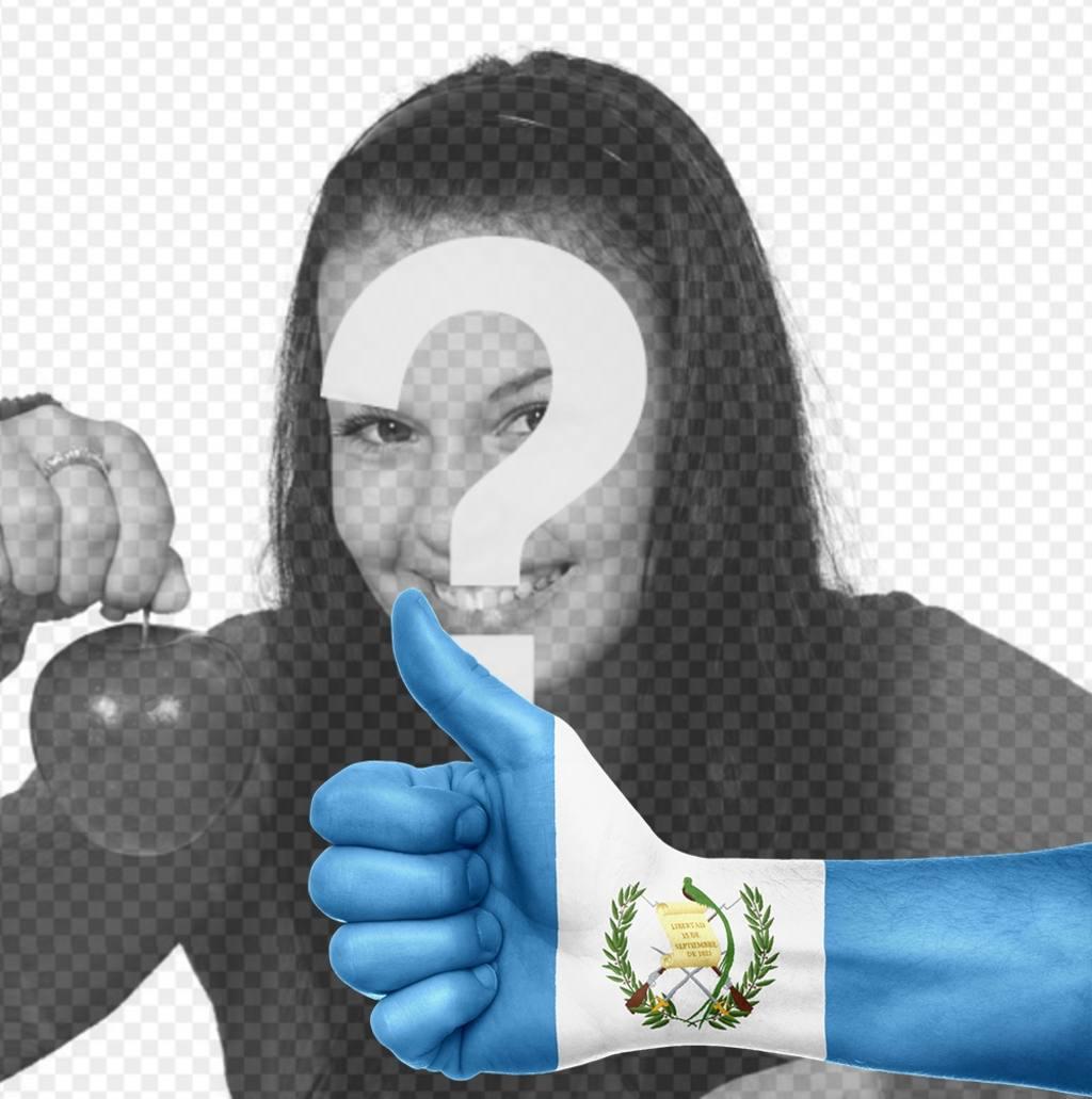 Main avec le drapeau du Guatemala peint où vous pouvez ajouter votre photo