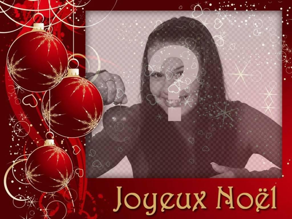 Carte de Noël décoratif pour une photo avec le Modifier de la phrase Joyeux Noel cet effet dune carte de Noël avec des ornements et le filtre avec des étoiles pour télécharger votre photo préférée et les mots Joyeux Noel, parfait pour le partage sur les réseaux sociaux ou limpression de consacrer cet effet libre