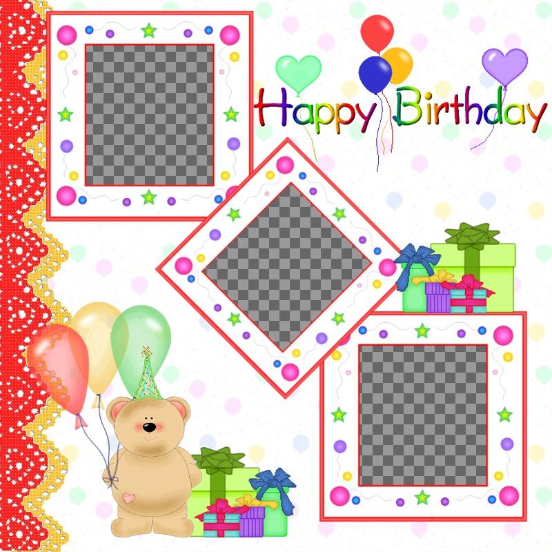 """Carte postale / carte d""""anniversaire pour les 3 photos avec des ballons et Teddy Bear cadeaux"""