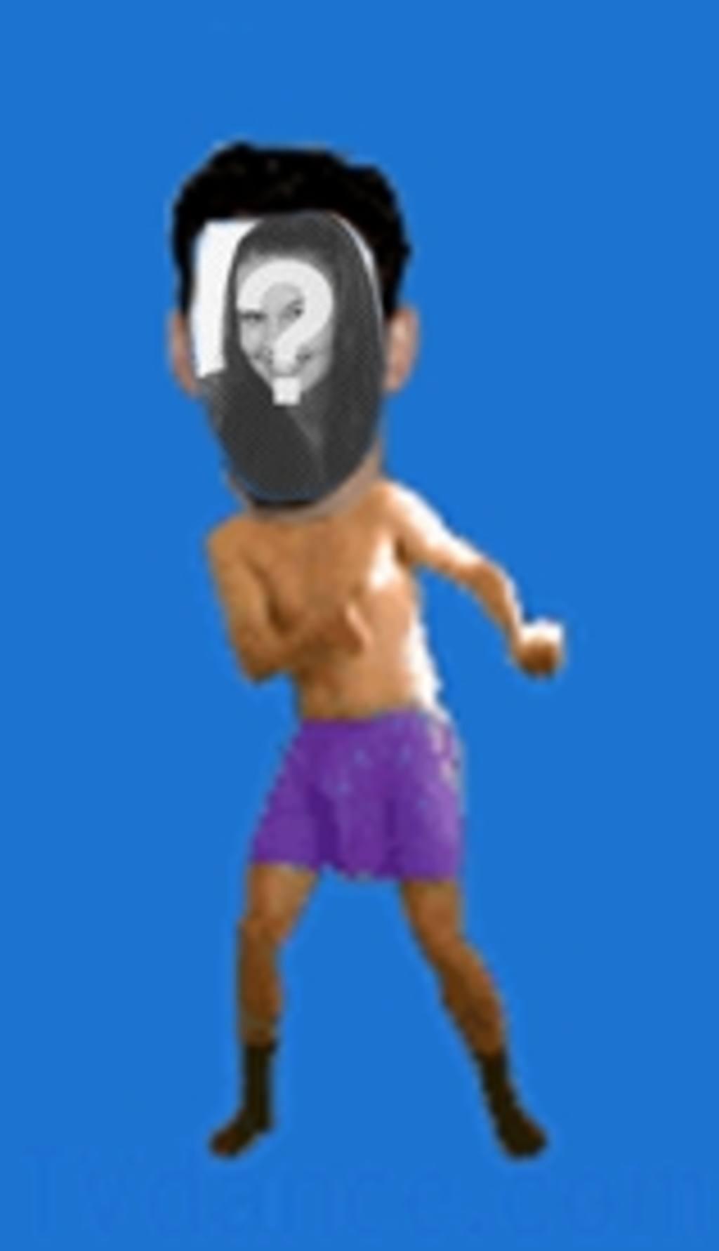 """Animation d""""un homme dans ses sous-vêtements danser le boogie dans lequel insérer le visage de votre choix"""