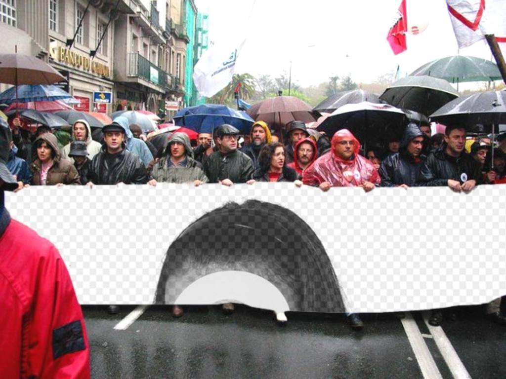 """Mettez votre photo ou image dans la bannière d""""une manifestation. Les manifestants protestaient exploitation de l""""image que vous téléchargez. N""""oubliez pas que vous pouvez ajouter du texte"""