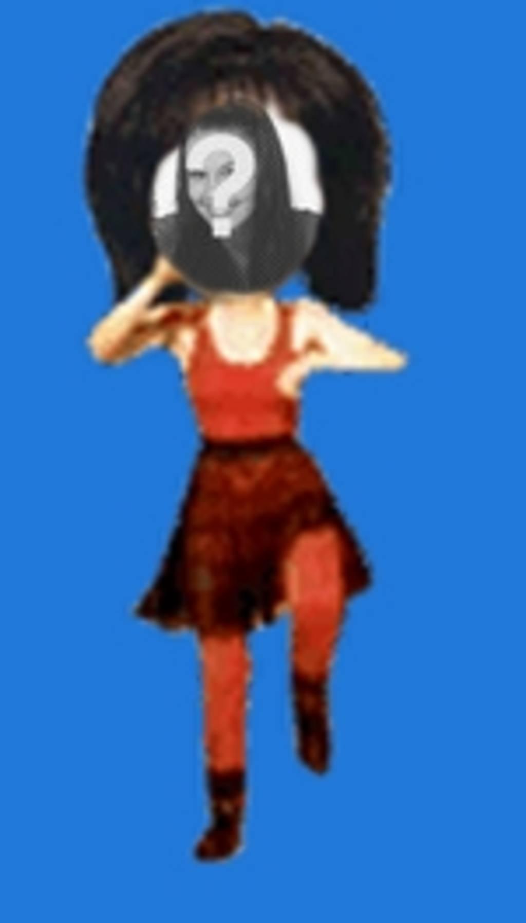 """Placez votre visage sur le corps d""""une femme dans le style bande dessinée de danse rouge. Modifiez le gif animé à partir de la page pour télécharger ou envoyer un courriel"""