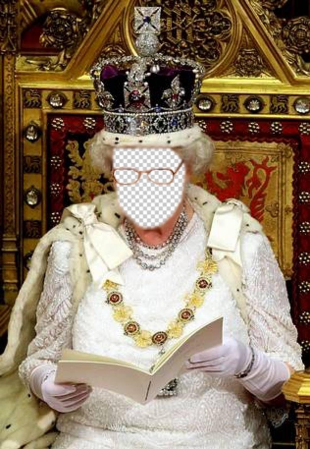 Dans ce photomontage, vous serez la reine dAngleterre assis sur Photomontage de son trône royal pour éditer en ligne et télécharger une photo que vous pouvez régler le visage dans le visage de la reine dAngleterre, assis sur son trône royal et avec la grande couronne complète des diamants. Vous aurez lair si réel dans ce sens que vous sentez que vous êtes vraiment de la redevance et vous pouvez utiliser cet effet que votre photo de profil