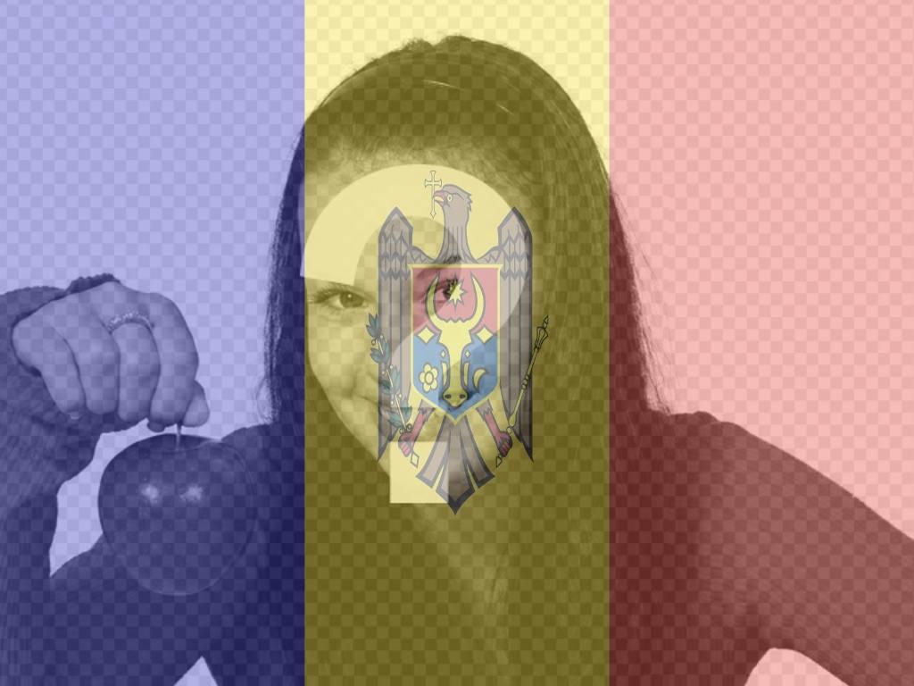 """Photomontage d""""une photo avec le drapeau de la Moldavie à faire en ligne"""