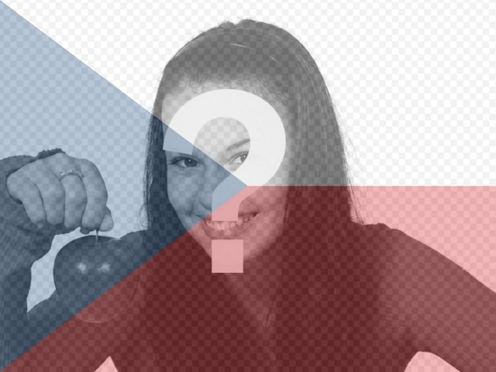 """Photomontage de peindre un visage ou une image sur la transparence avec le drapeau de la République tchèque, il suffit de télécharger l""""image, de les modifier en ligne et vous pouvez enregistrer ou envoyer à vos amis par e-mail"""