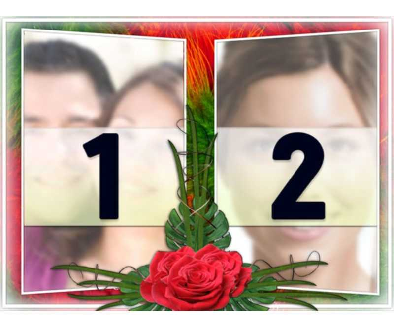 """Elégant montage de deux photos dans un cadre de vert et rouge motifs floraux. Avec des roses entre les deux. Idéal pour un couple dans l""""amour. Comme un rappel des dates importantes et la Saint-Valentin"""