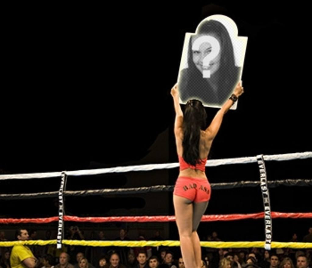 Sports montage. Mettre une image sur une affiche annonce de la prochaine ronde de la boxe, brandissant une jeune fille à la peau brune avec des vêtements légers rouge