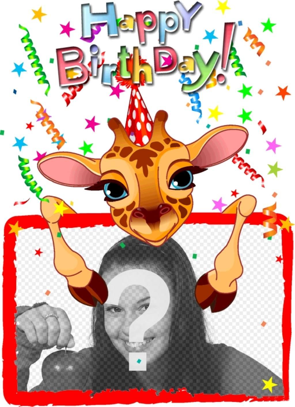 Personnalisable carte de voeux avec un anniversaire de girafe