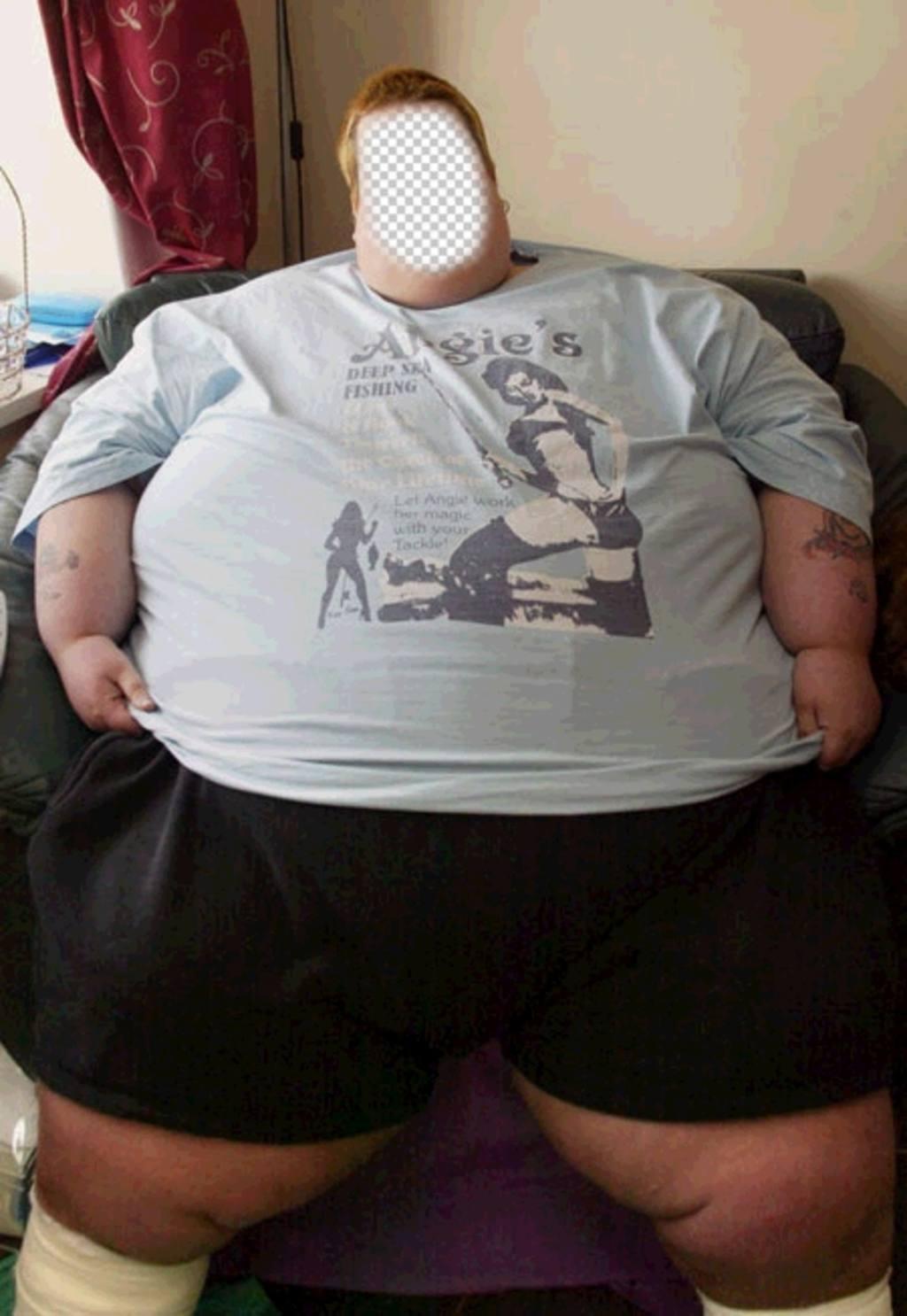 Montage ajouter la photo de votre choix dans le visage de cet homme gras
