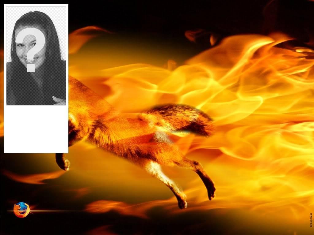Insérez votre image dans ce cadre photo avec un renard entouré de flammes de feu, couleurs orange et noir