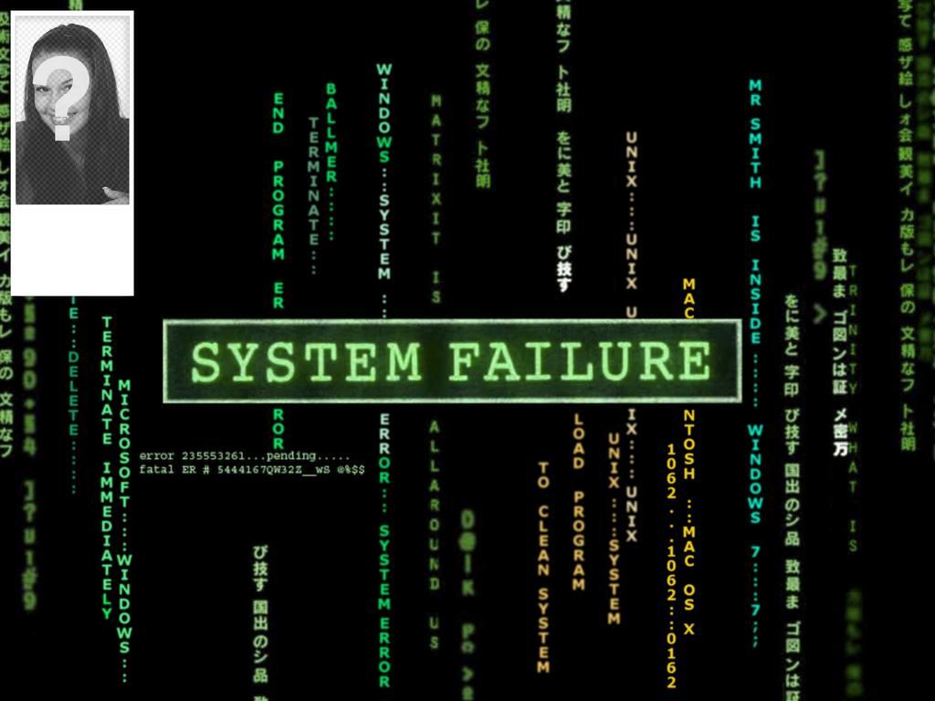 Twitter peint en noir avec le texte de style matrice défaillance du système. Personnalisable avec votre image