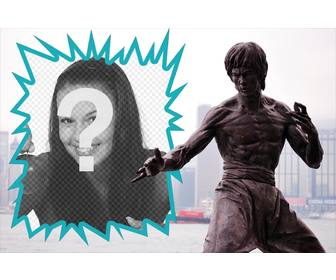 collage avec une statue bruce lee