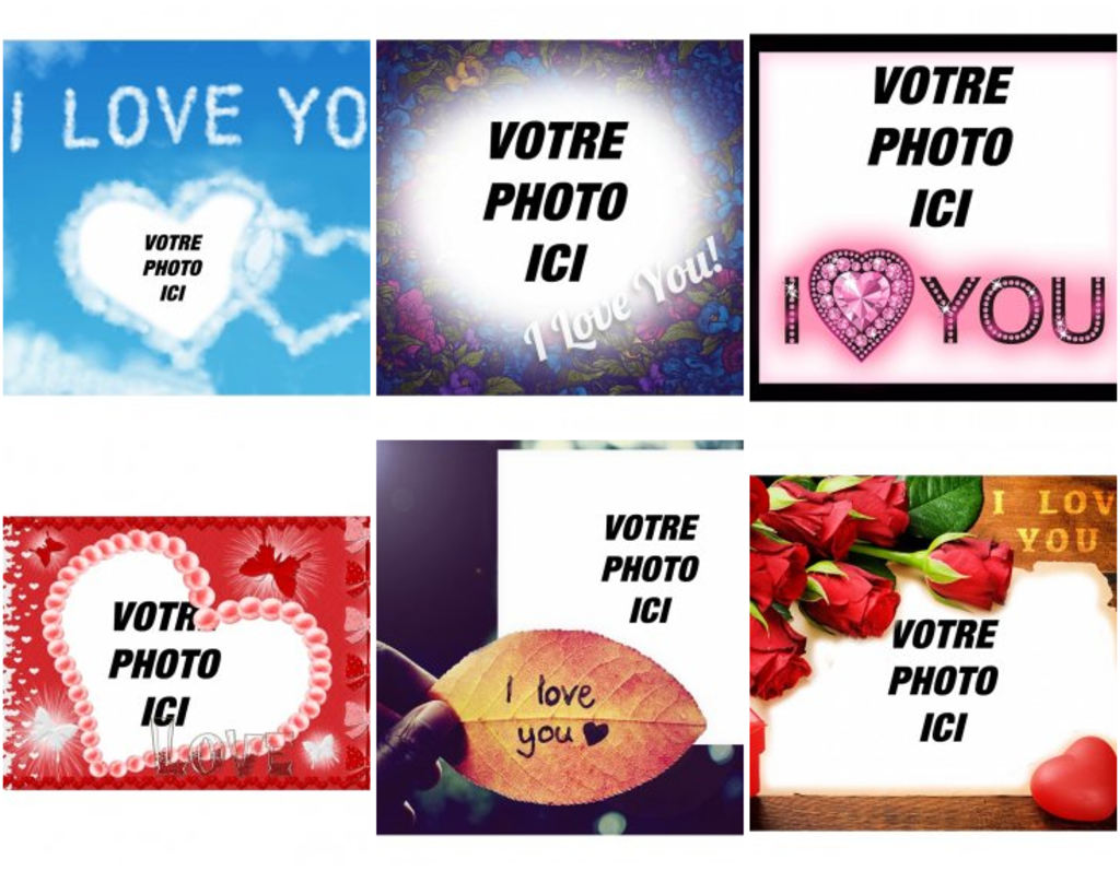 Montage photo d'amour avec l'expression JE T'AIME