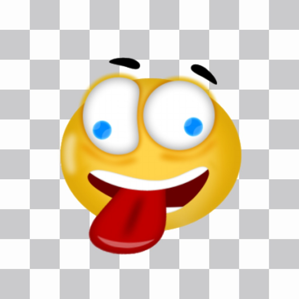 Autocollant pour les photos smiley fou collant sa langue. autocollant