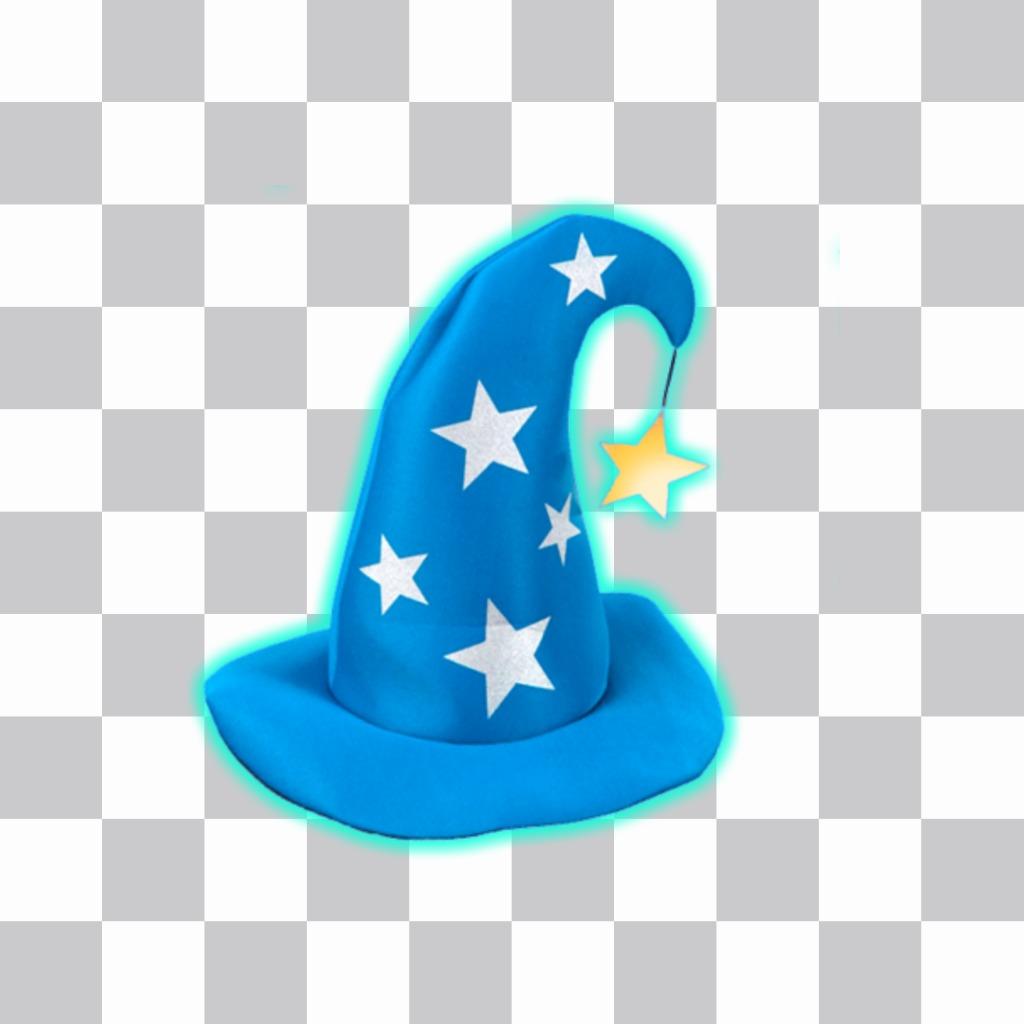 Autocollant avec un chapeau de magicien bleu avec des étoiles dargent
