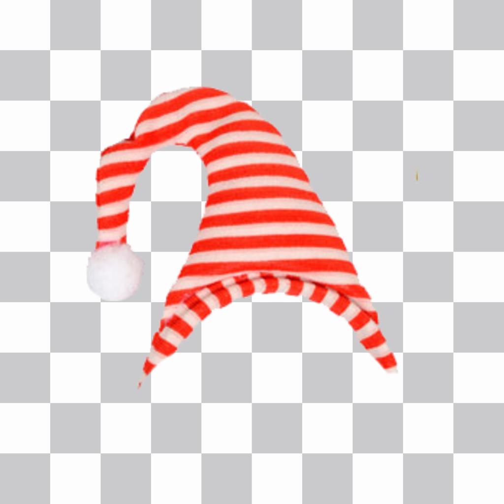 Autocollant rouge bonnet rayé blanc, avec une boule à lextrémité