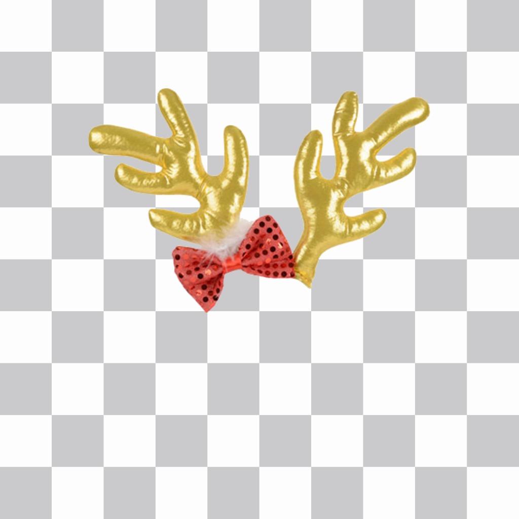Autocollant avec bouchon doré et renne rouge arc de Noël