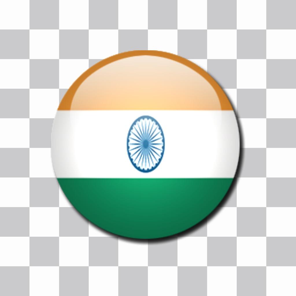 Autocollant en forme de badges avec le drapeau de lInde. Mettez de vos photos Drapeau Inde avec ce pare-chocs