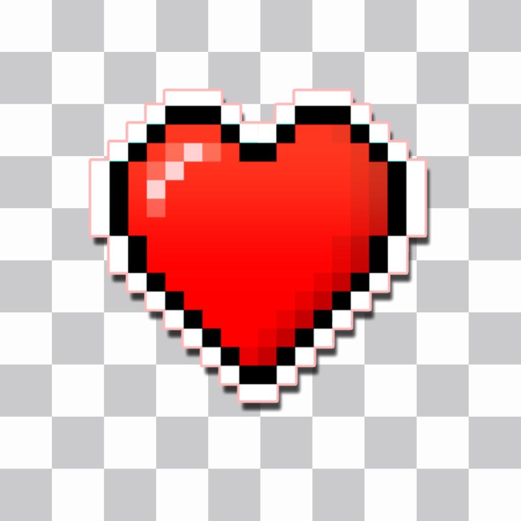 Un autocollant de coeur pixélisé