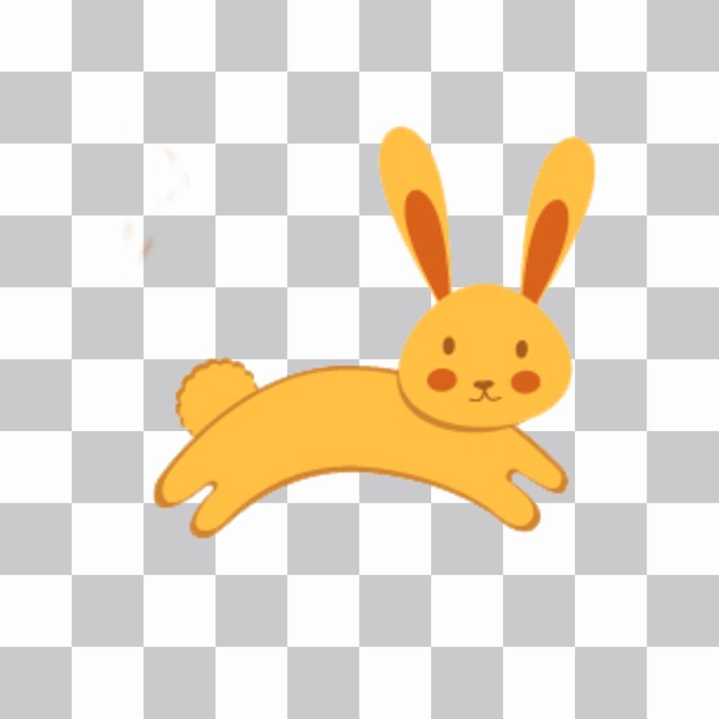 autocollant avec un lapin pour coller dans votre photo