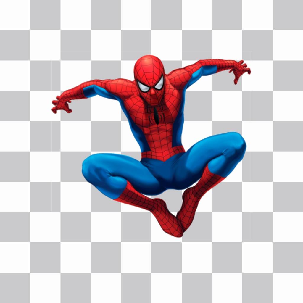 Spiderman autocollant saut à insérer dans votre photo