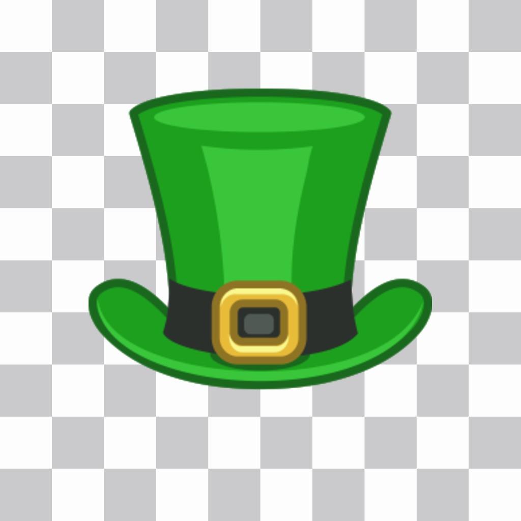 Le chapeau de la Saint-Patrick de mettre en ligne vos photos comme un autocollant sur notre éditeur dimage