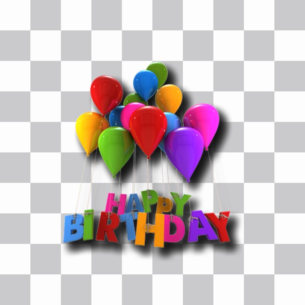 Autocollant avec ballons et le texte de joyeux anniversaire que vous pouvez mettre vos photos en ligne et de faire une carte postale
