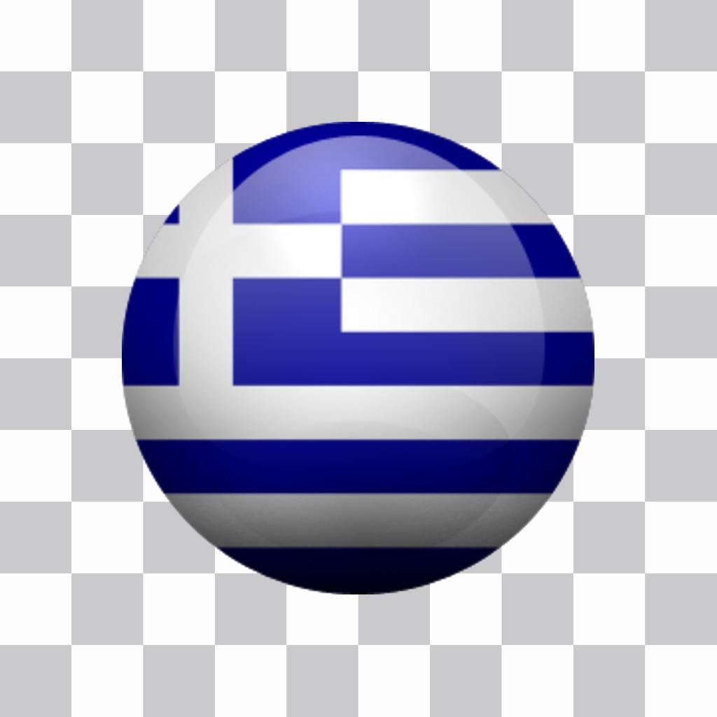 Autocollant rond avec les couleurs du drapeau de la Grèce de Photomontage pour ajouter le drapeau de la Grèce dans un cercle avec un fond transparent dans votre photo et avec votre image en évidence votre soutien et de fierté pour ce pays en Europe. Un bouton sticker décoratif avec le drapeau de la nation de la Grèce, vous pouvez coller partout sur votre image et libre