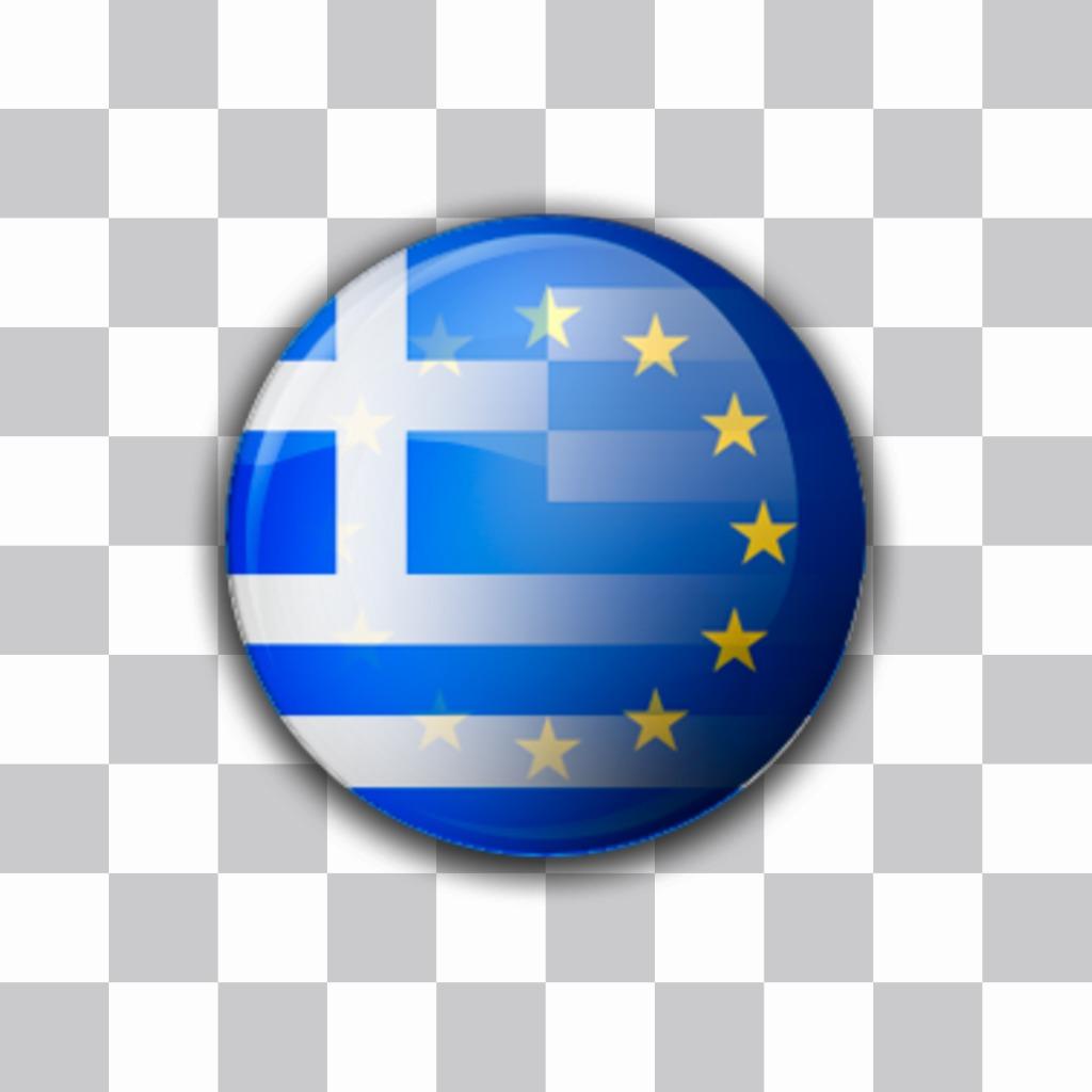 Sticker des drapeaux de lUnion européenne avec la Grèce ensemble