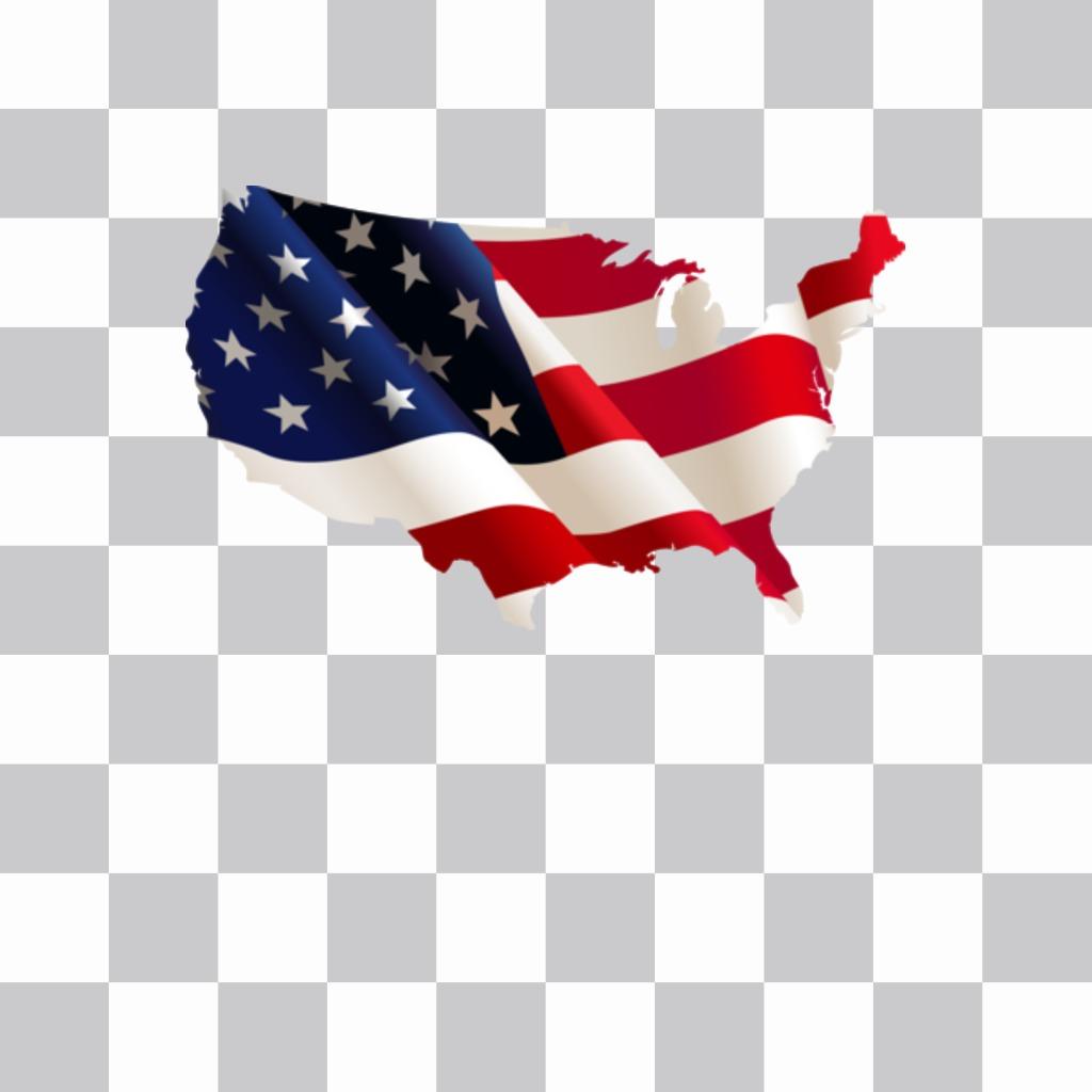 Carte des Etats Unis avec le drapeau fond comme un autocollant à mettre sur vos photos de profil