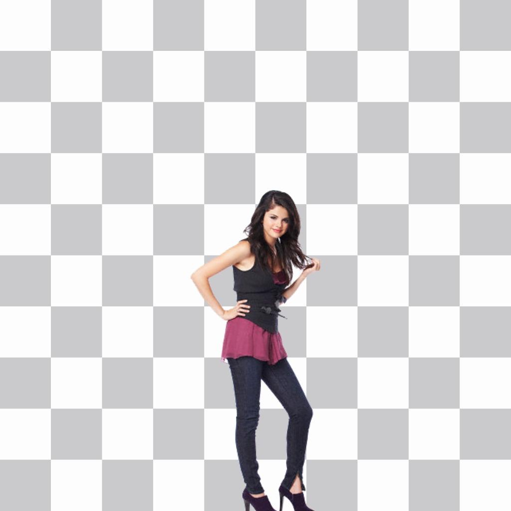 Mettez dans votre photo Selena Gomez avec ce photomontage en ligne de la célèbre chanteuse