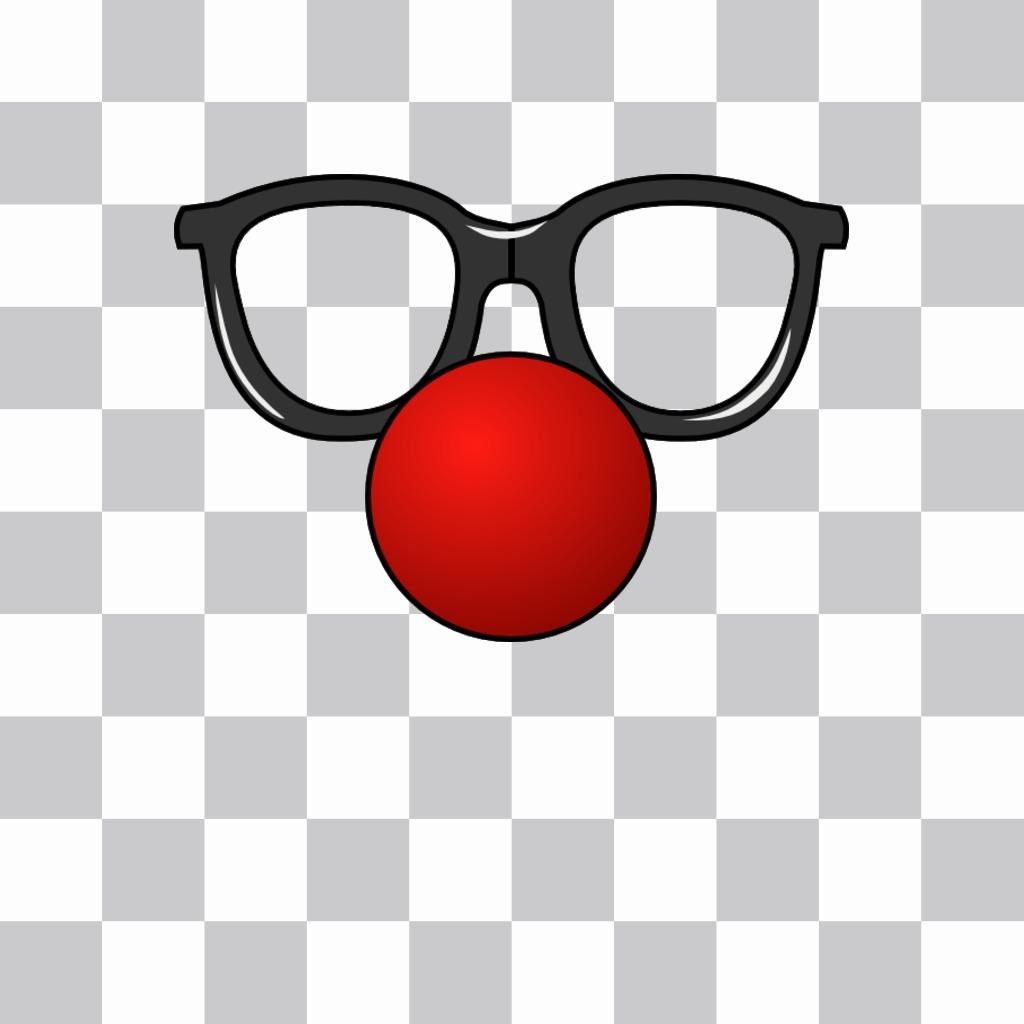 Lunettes et un nez de clown rouge que vous pouvez mettre dans vos photos comme un autocollant