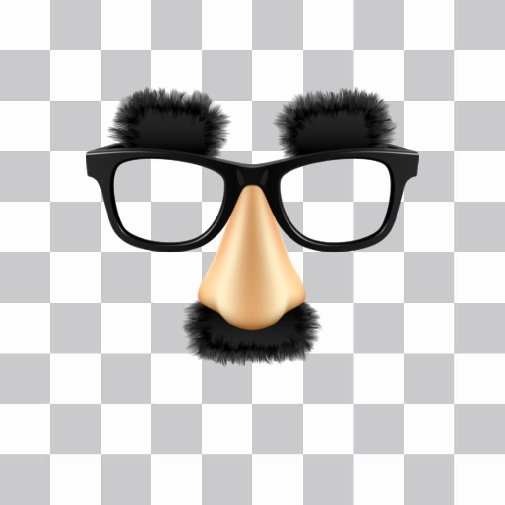 Autocollant avec des lunettes de moustache et sourcils de Groucho Marx, le grand comédien vous pouvez insérer dans vos photos