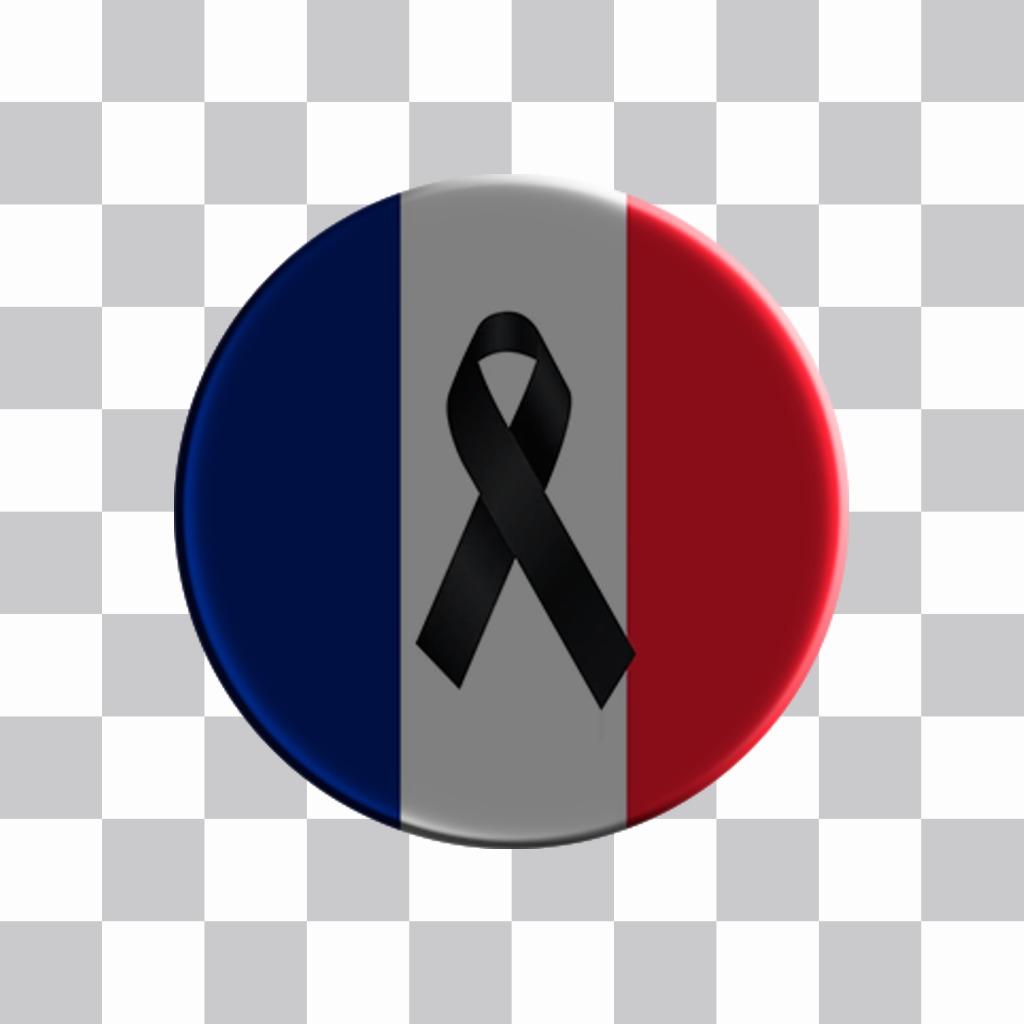 Badge avec le drapeau de la France et un deuil papillon noir pour mettre vos photos en ligne sur les réseaux sociaux