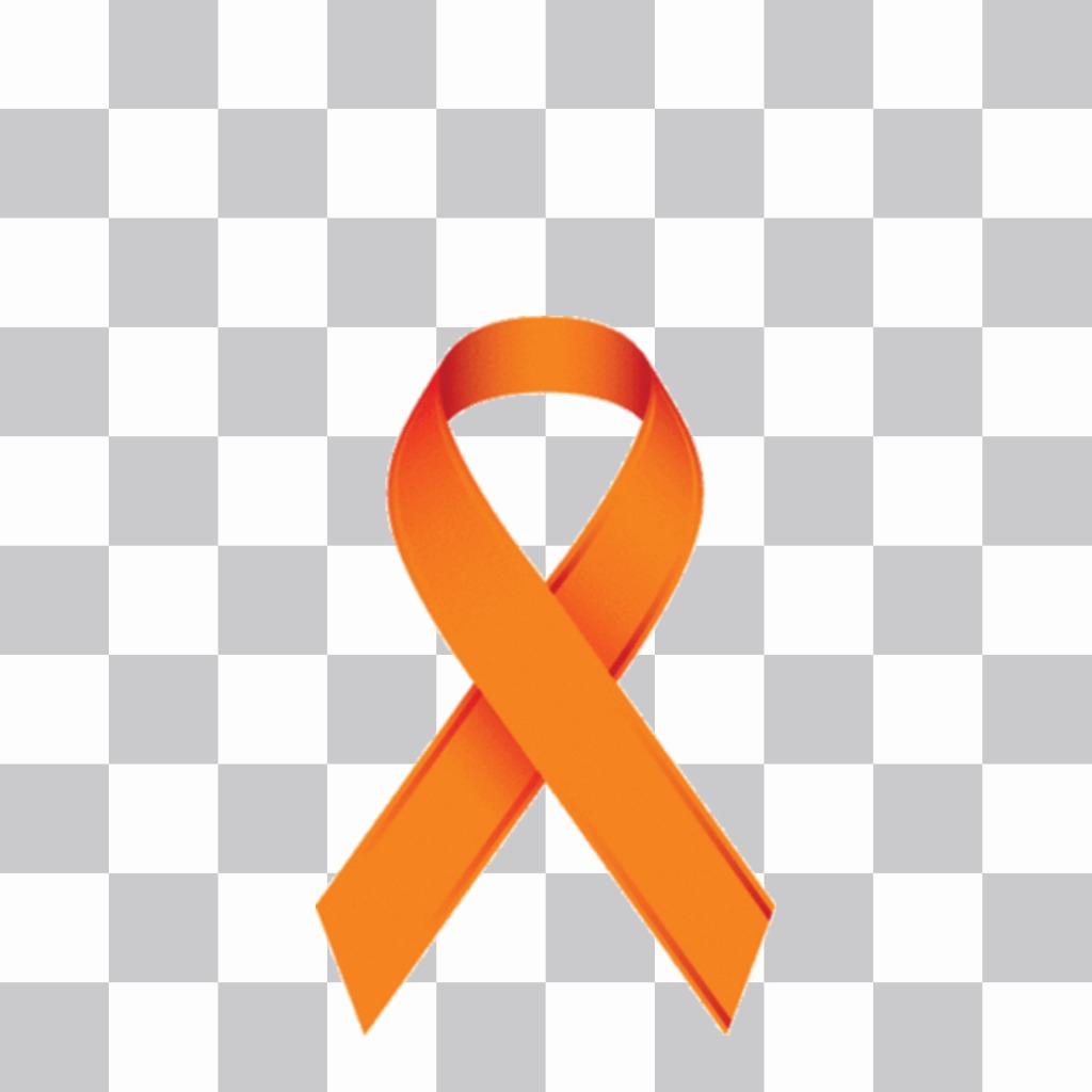 Ruban orange à lappui de la lutte contre la leucémie à mettre sur vos photos