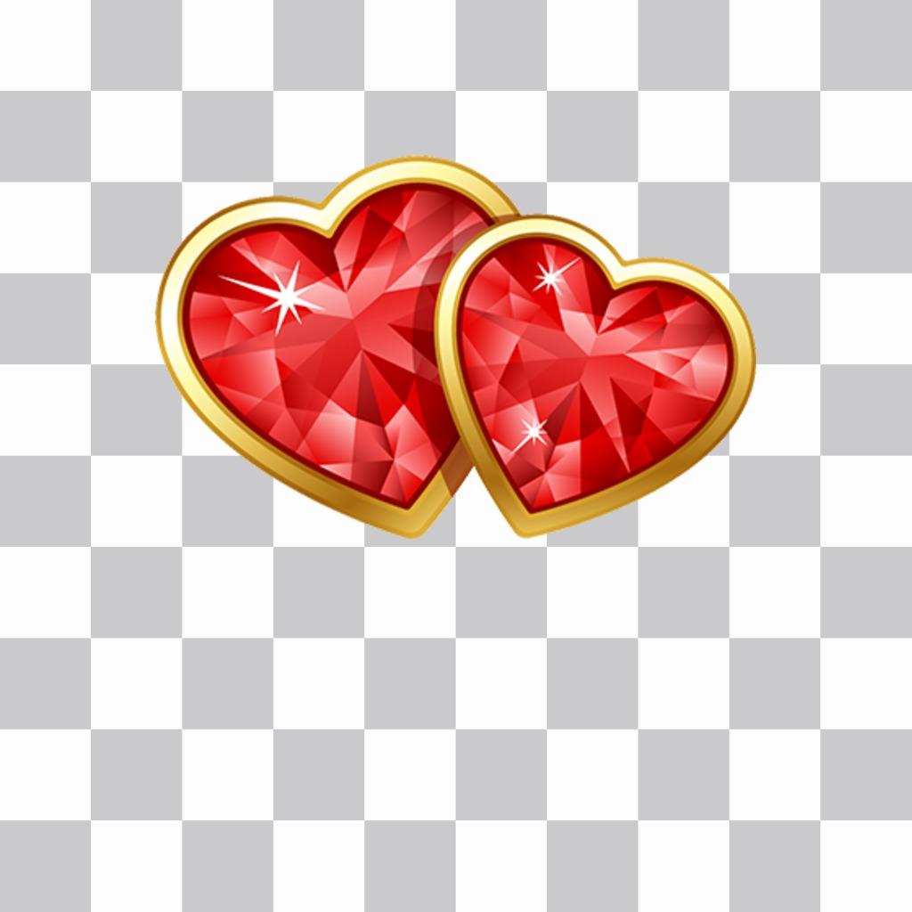 Décorez vos photos avec deux coeurs de diamant avec deux coeurs brillants de cet autocollant pour décorer vos photos avec cet autocollant en ligne. Vous pouvez les mettre nimporte où sur vos photos et montrez votre amour avec cet effet de photo