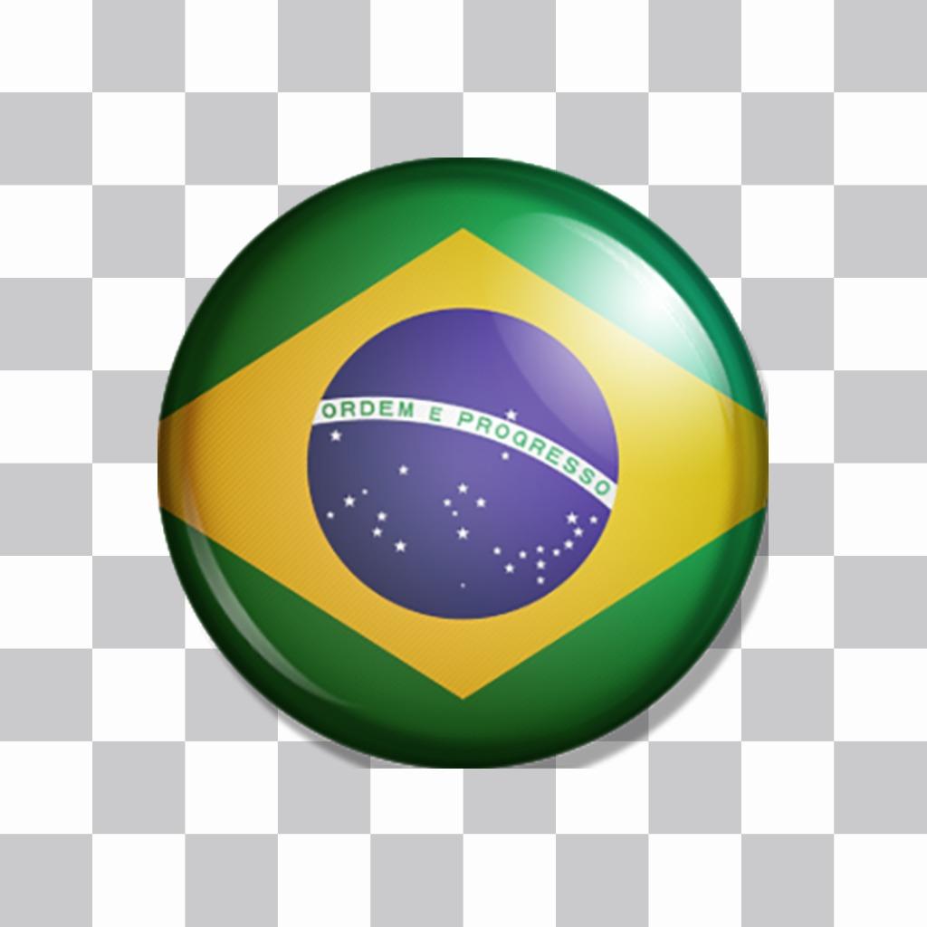 Drapeau brésilien comme un bouton pour coller sur vos photos