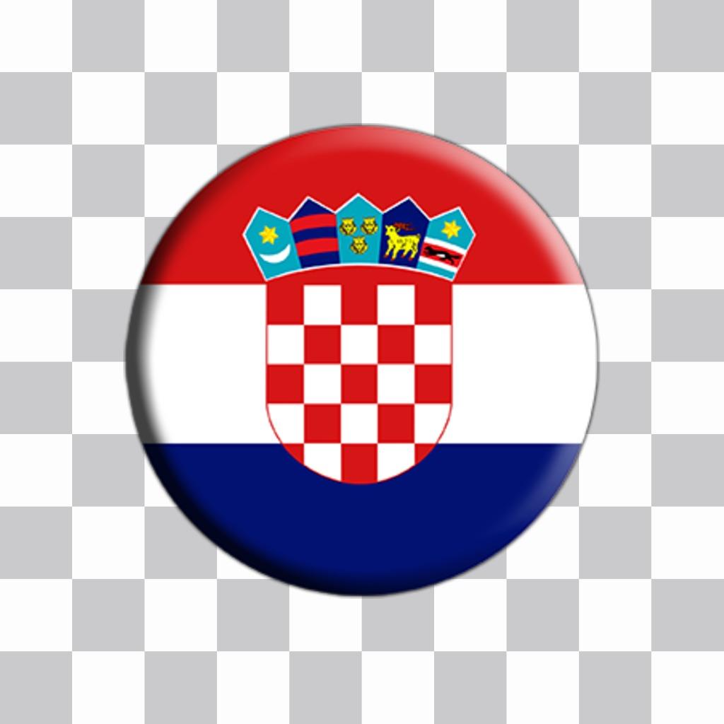 Bouton avec le drapeau de la Croatie à ajouter à vos photos comme un autocollant Envoyez