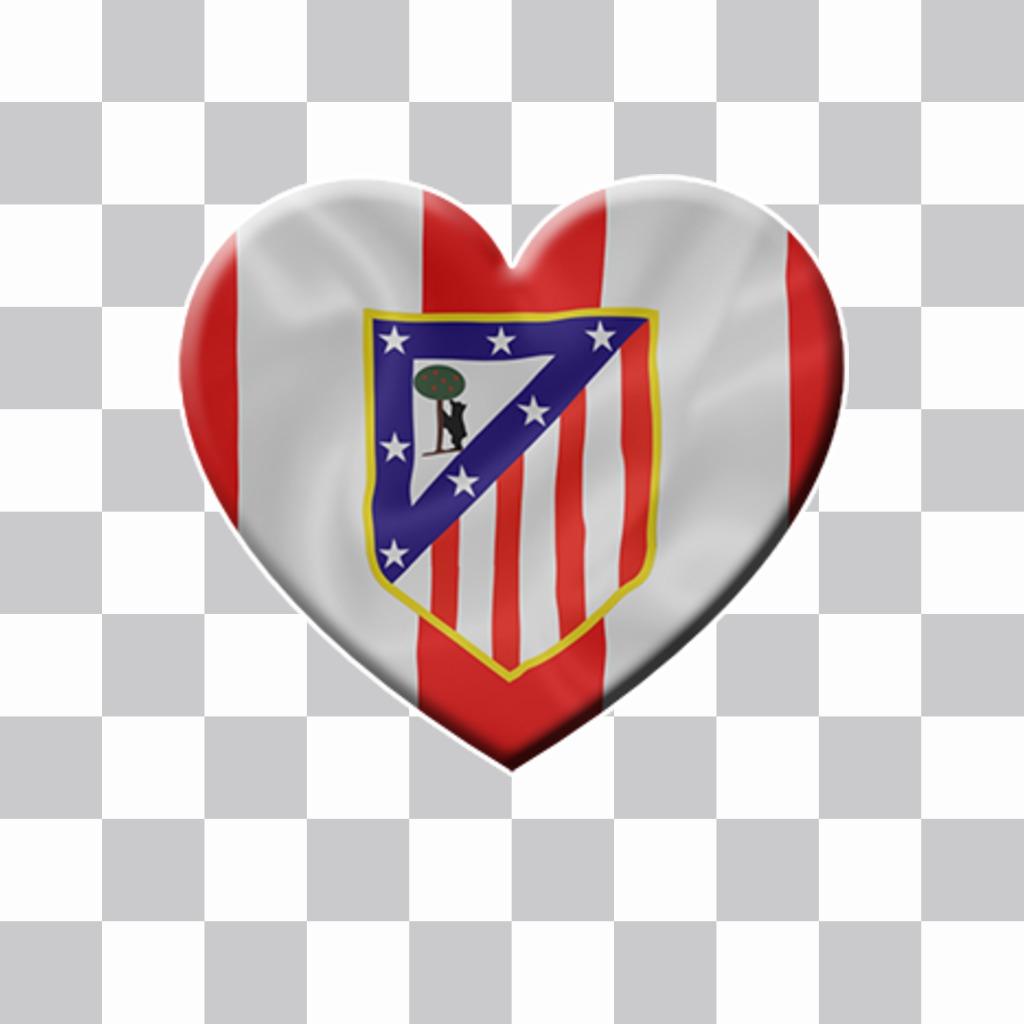 Coeur avec le drapeau de lAtletico Madrid à coller sur vos photos
