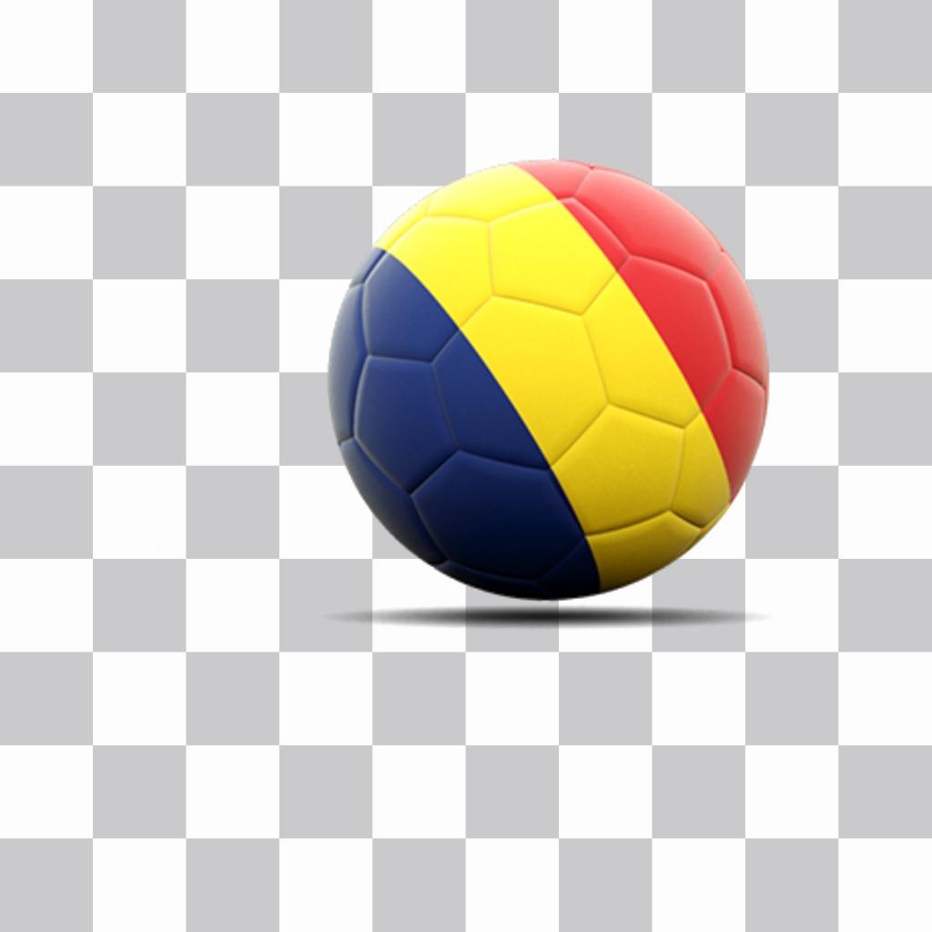 Soccer ball avec le drapeau de la Roumanie comme un autocollant à coller sur vos photos