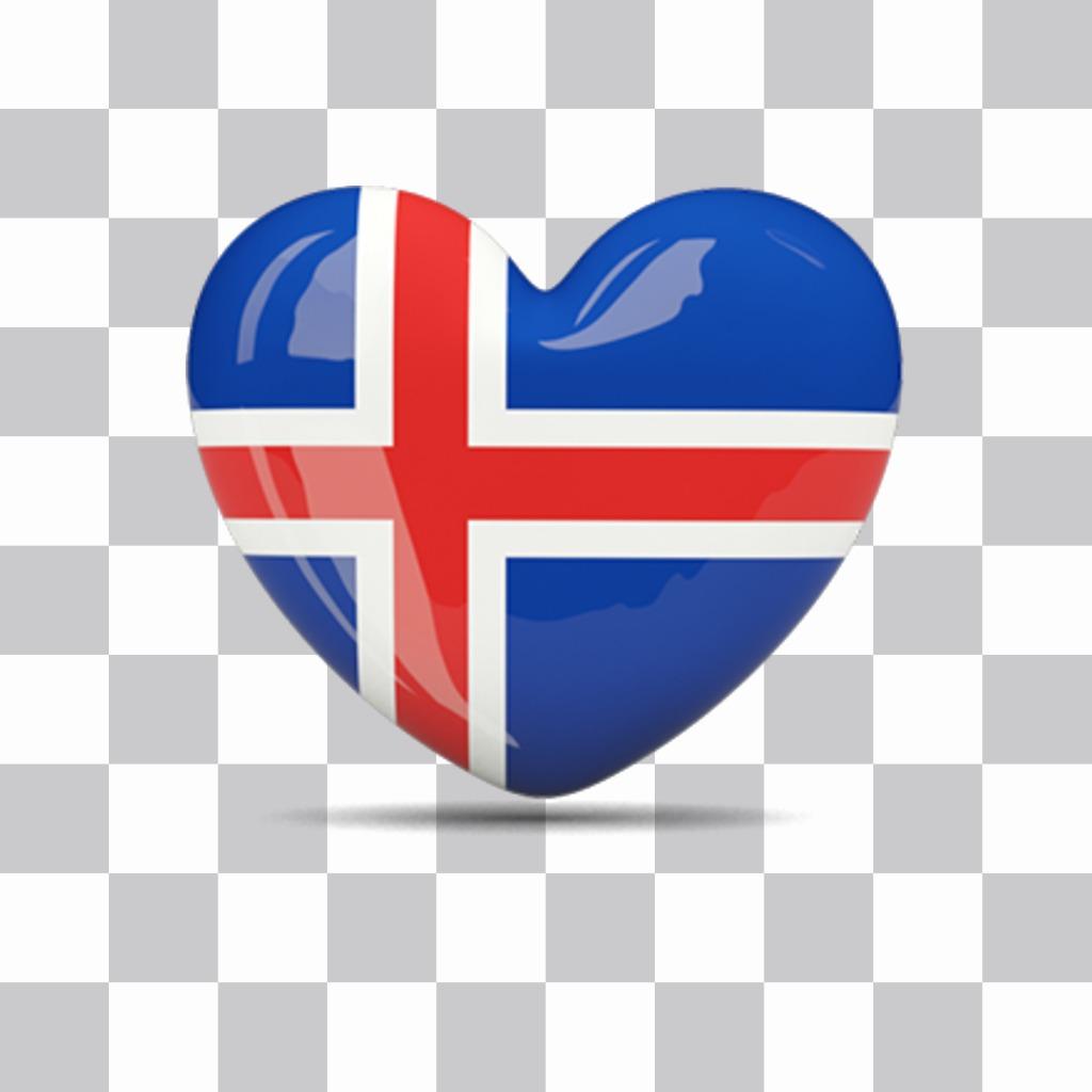 Islande drapeau en forme de coeur à coller dans vos photos comme autocollant