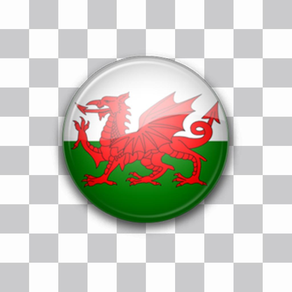 Autocollant de drapeau du Pays de Galles comme un bouton pour coller sur vos photos