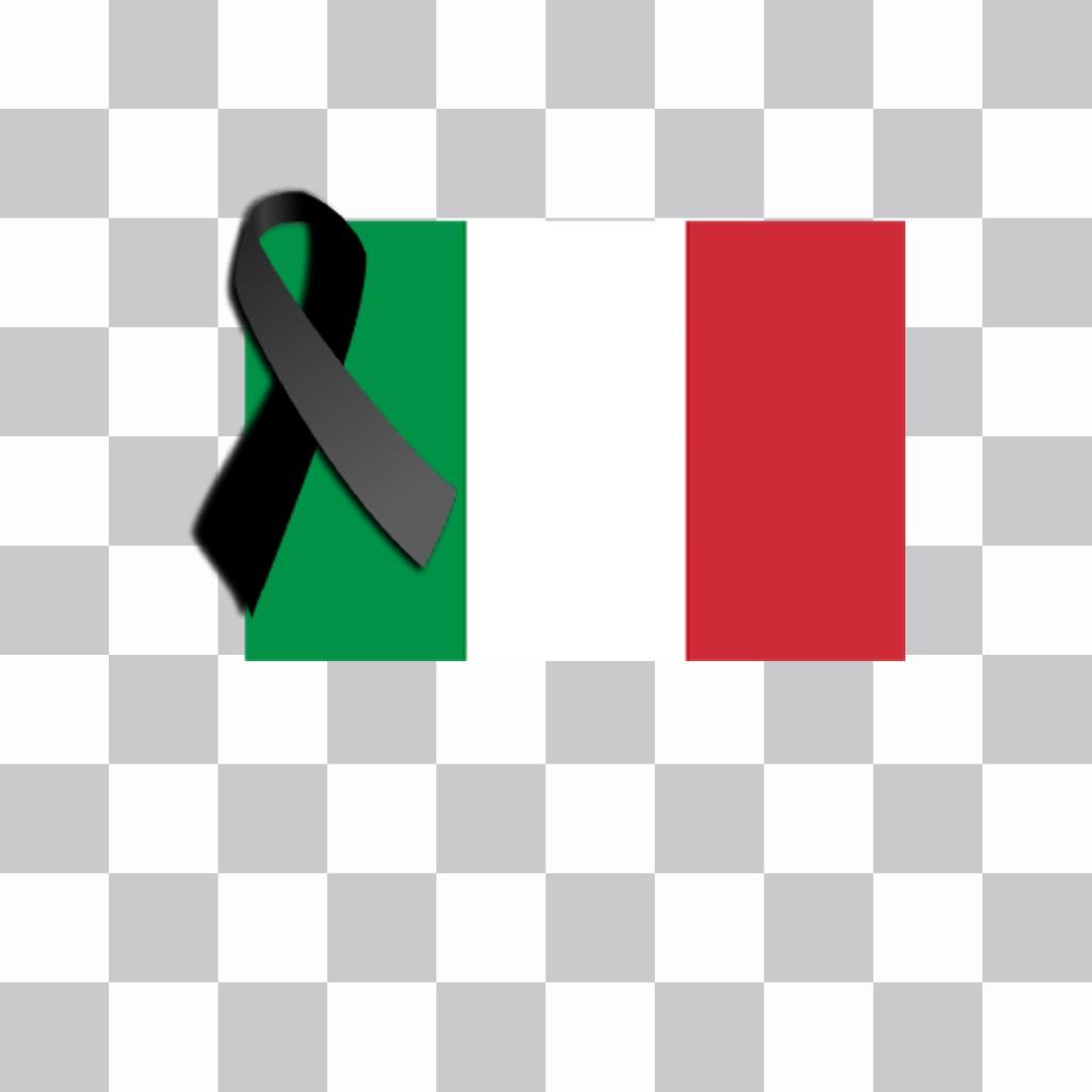 Italie drapeau avec ruban de deuil noir pour coller Photomontage de vos photos pour modifier avec votre photo et coller sur elle le drapeau de lItalie et la cravate noire de deuil comme autocollant en ligne et exprimer votre soutien à ce pays dans les réseaux sociaux