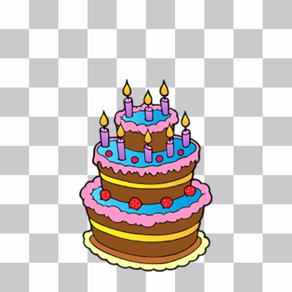 Gâteau danniversaire coloré avec des bougies pour décorer et coller sur votre autocollant